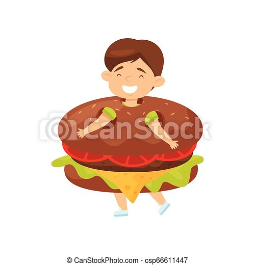 Funny little boy wearing burger costume. Laughing kid. Child with happy face. Flat vector design - csp66611447