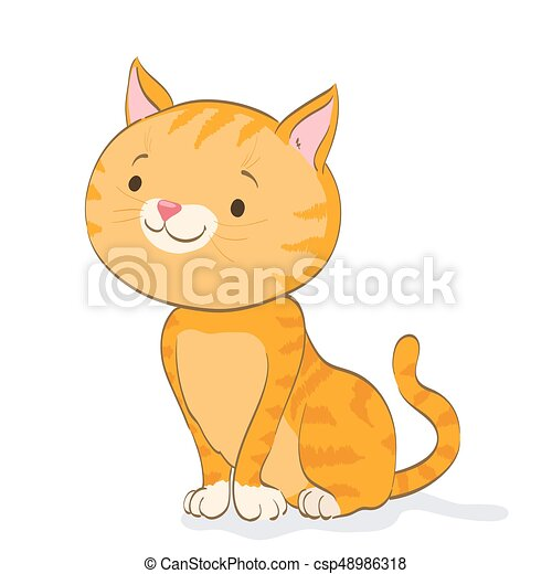 Funny Little Cat Sitting And Looking Red Tabby Kitten Cartoon Vector Illustration
