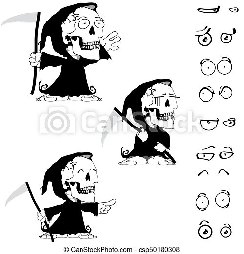 funny little chubby grim skull skeleton cartoon halloween set1 csp50180308 - Cartoon Halloween Drawings