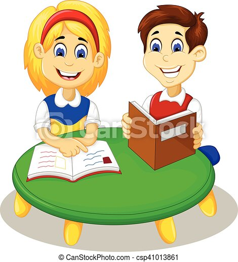 vector illustration of funny little girl and boy studying clip art rh canstockphoto com  boy and girl studying clipart