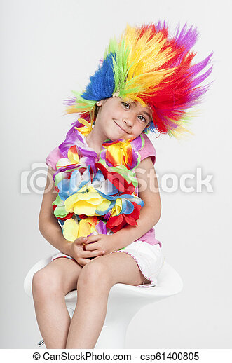 Funny little girl in disguise with wig - csp61400805