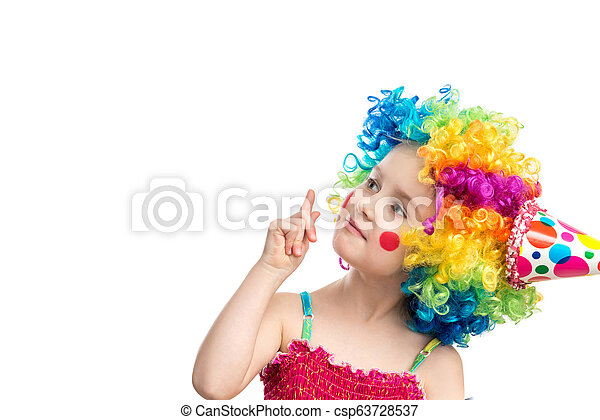 Funny little girl in multicolored wig - csp63728537