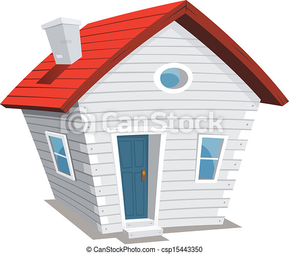 funny little house illustration of a funny cartoon white wooden