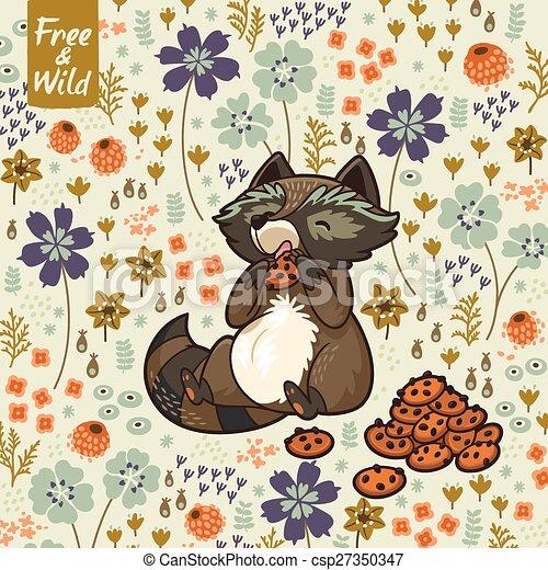 Funny Little Raccoon Eating Cookies