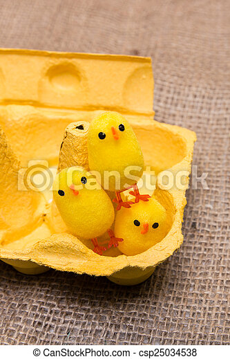 Funny Little Toy Chicken In Egg Box Stock Photo & Funny little toy chicken in egg box. Three yellow little toy ... Aboutintivar.Com