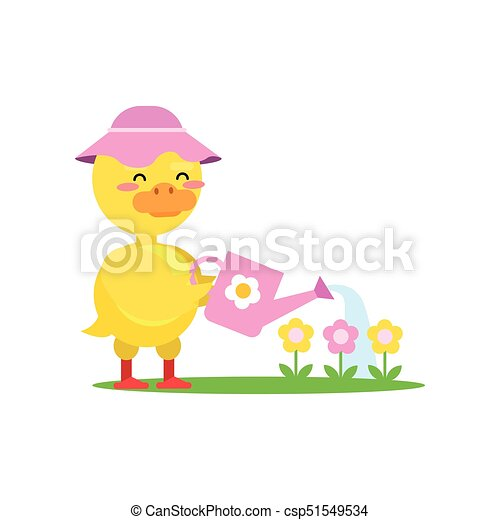 Funny Little Yellow Duckling Wearing Pink Hat Watering Flowers From A  Watering Can Cartoon Character f164904cf040