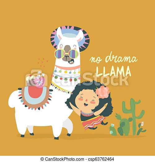 Funny Llama Alpaka With Cute Mexican Girl