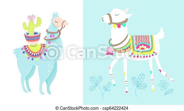 Funny Llama With Cactus Isolated On White Blue Alpaca Animal