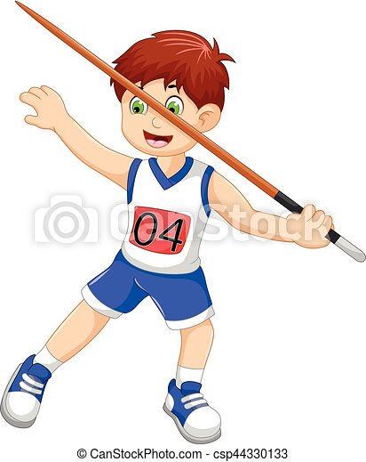 vector illustration of funny man athlete throwing a javelin rh canstockphoto com javelin throw clip art Track Clip Art