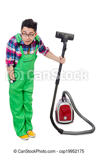 Funny Man In Green Coveralls Vacuum Cleaning Canstock