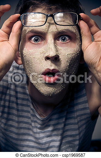 Funny man with facial mask and glasses - csp1969587