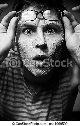 Funny man with facial mask and glasses - csp1969592