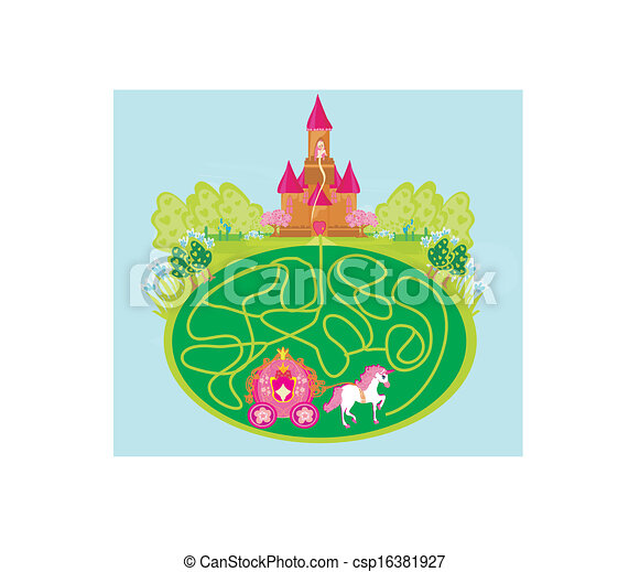 Funny maze game - princess waits in a castle - csp16381927