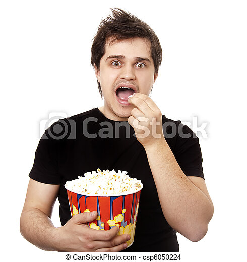 Funny men eating popcorn. - csp6050224