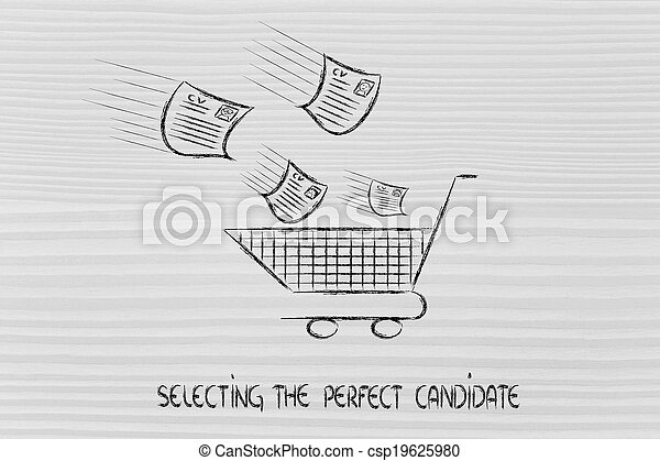 funny metaphor of CV selection for talent scouting, collecting the best talents - csp19625980
