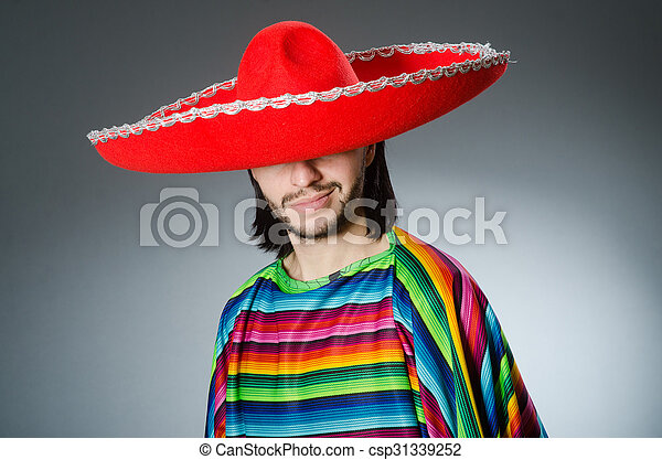 Funny mexican wearing sombrero hat - csp31339252 ff05e3d2794