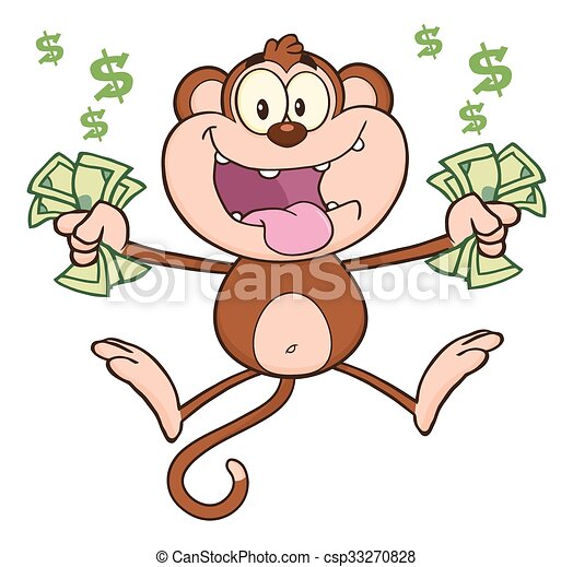 funny monkey with cash money funny monkey cartoon character rh canstockphoto com People with Money Clip Art Animated Money Clip Art