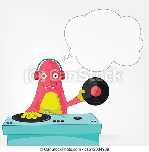 Funny Monster. DJ. - csp12034939