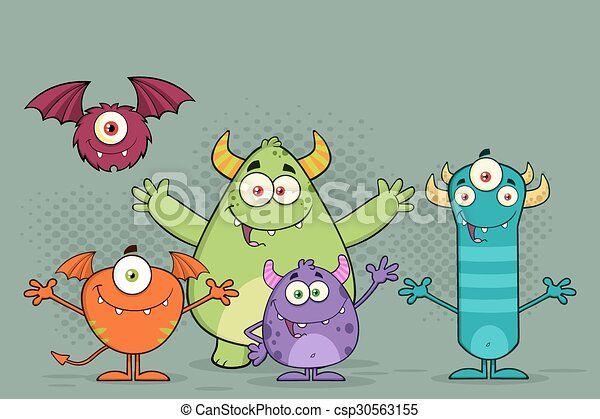 Funny Monsters Cartoon Characters - csp30563155