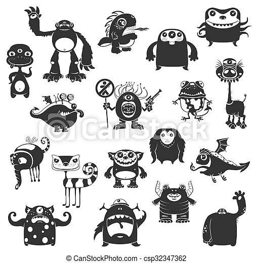 Funny Monsters Silhouette - csp32347362
