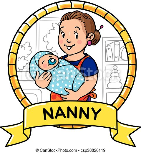Funny mother or nanny with baby. Emblem. - csp38826119