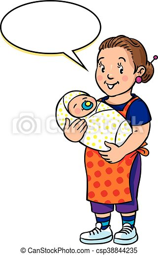 Funny mother or nanny with baby - csp38844235