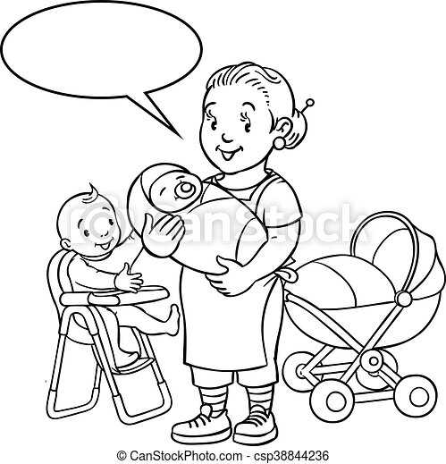 Funny mother or nanny with children. Coloring book - csp38844236