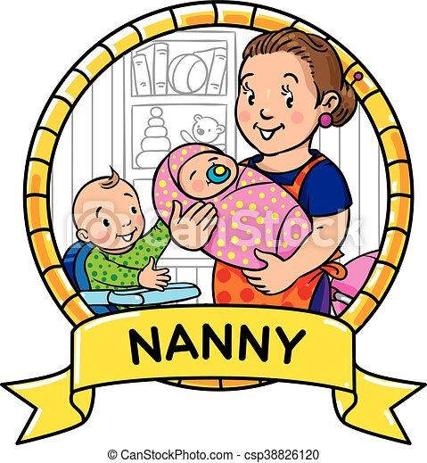 Funny mother or nanny with children. Emblem. - csp38826120