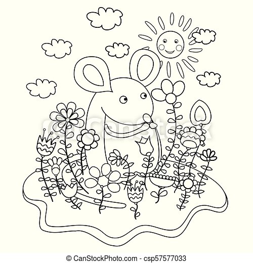 Funny mouse with flowers. Coloring book - csp57577033