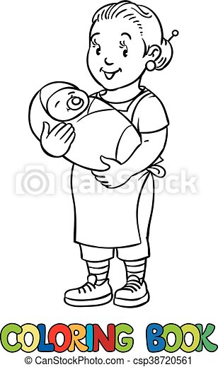 Funny nanny with baby. Coloring book. - csp38720561