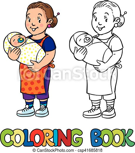 Funny nanny with baby. Coloring book. - csp41685818