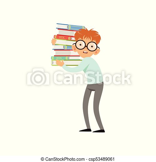 Funny nerd boy carrying stack of books. Cartoon schooler character in glasses, shirt and pants. Smart kid with two large front teeth. Flat vector design - csp53489061