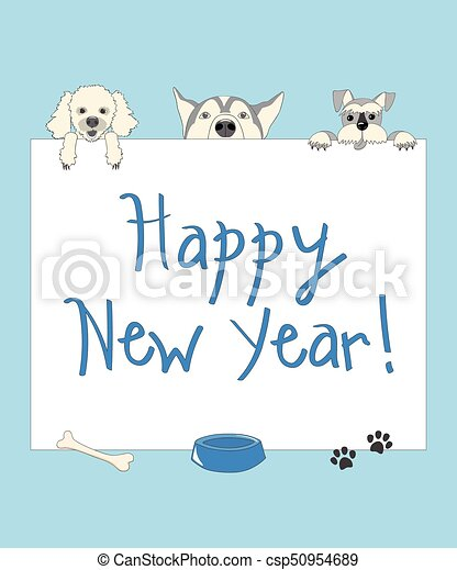 Funny new year blue card with cartoon dogs. Kids new year card with ...