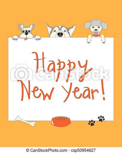 Funny new year orange card with cartoon dogs. Kids new year card ...