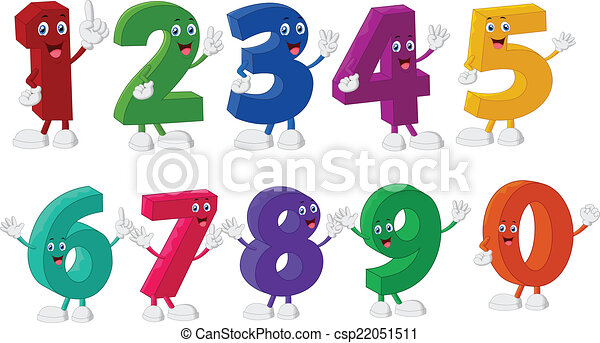 Funny Numbers Cartoon Characters - csp22051511