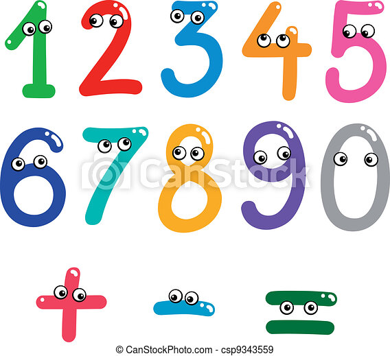 Funny Numbers From Zero To Nine Illustration Of Numbers From Zero