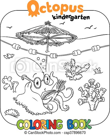 Funny octopus coloring book. Coloring book with funny reading ...