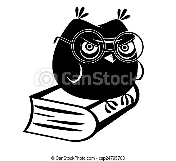 Funny owl and a book - csp24795703