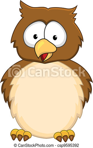 Funny owl cartoon - csp9595392