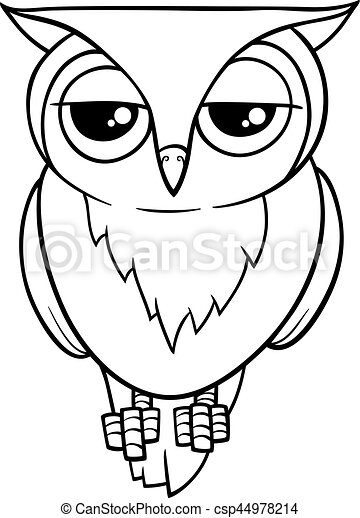 funny owl coloring page black and white cartoon vector clip art rh canstockphoto com black and white clipart owl owl black and white clipart