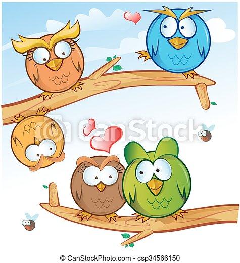 funny owl group cartoon on tree  - csp34566150