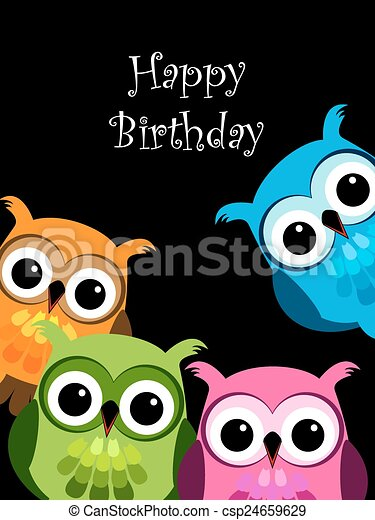 Funny Owls Card Funny Owl Cartoon Characters Looking At You Card Canstock