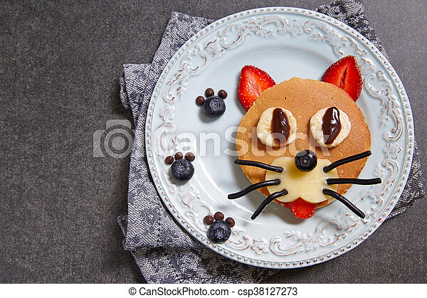 Funny pancakes for kids breakfast - csp38127273