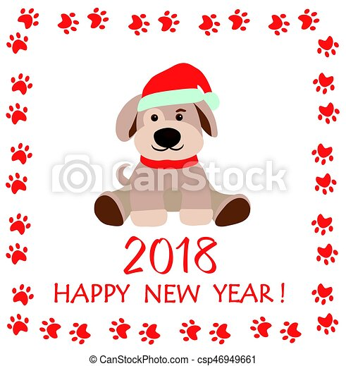 Funny paper childish greeting with puppy for new year 2018.