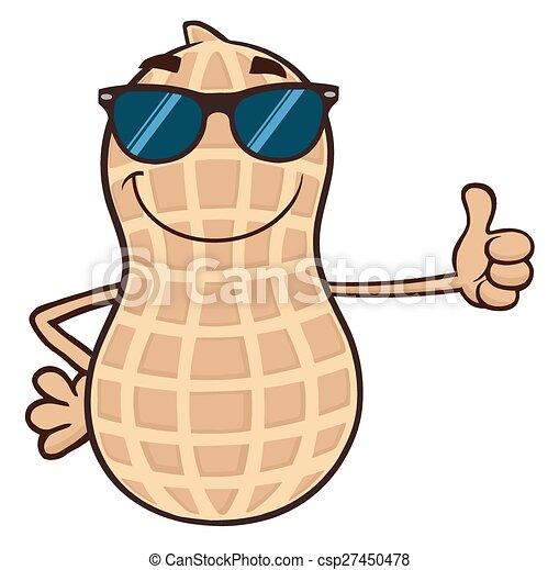 Funny Peanut With Sunglasses - csp27450478