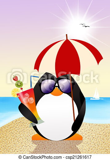 Illustration of funny penguin on the beach.