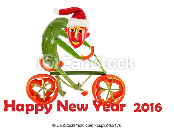 Funny pepper on a bicycle. happy new year.