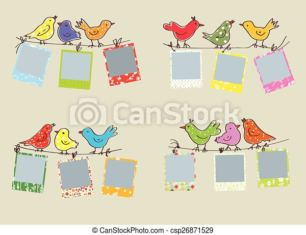 Funny photo frames with birds and patterns set.
