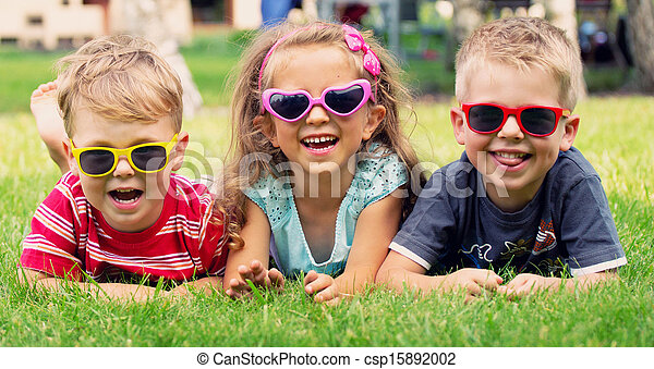 Funny picture of three playing kids - csp15892002
