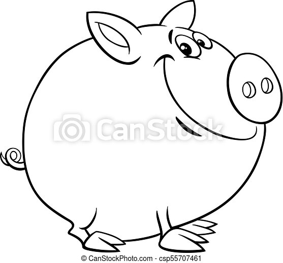 - Funny Pig Cartoon Character Color Book. Black And White Cartoon  Illustration Of Funny Pig Farm Animal Character Coloring Book CanStock